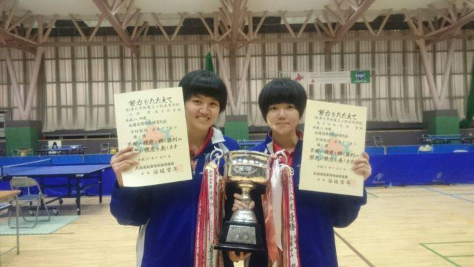 女子ダブルス優勝 後木(左)・杉渕(右)ペア